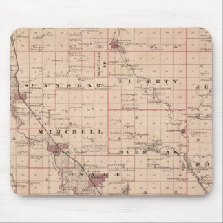 Map of Mitchell County, State of Iowa Mouse Mat