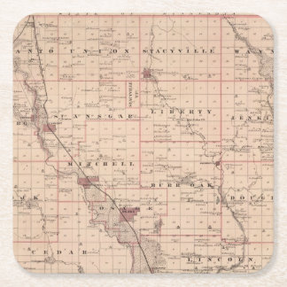 Map of Mitchell County, State of Iowa Square Paper Coaster