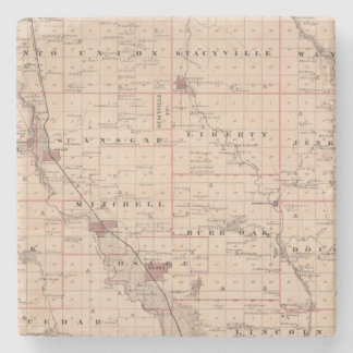 Map of Mitchell County, State of Iowa Stone Coaster