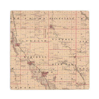 Map of Mitchell County, State of Iowa Wood Coaster