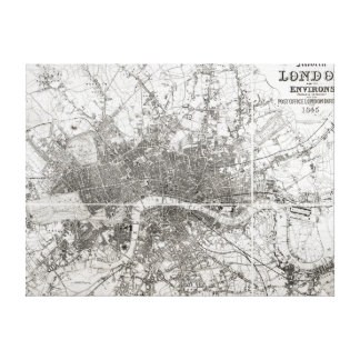 Map of Modern London and its Environs, 1854 Canvas Print