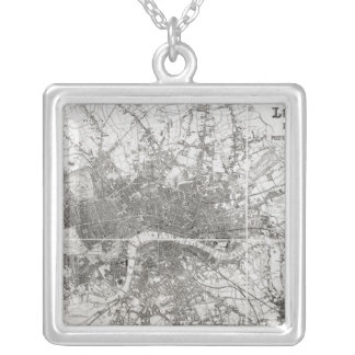 Map of Modern London and its Environs, 1854 Silver Plated Necklace