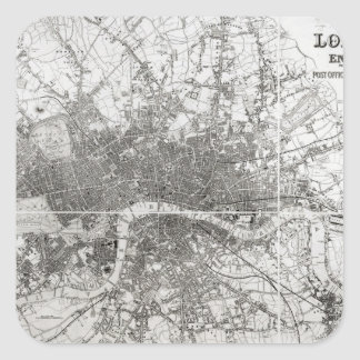 Map of Modern London and its Environs, 1854 Square Sticker