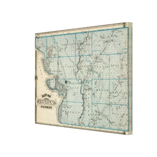 Map of Monona County, State of Iowa Canvas Print