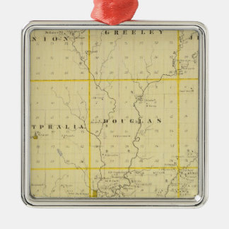 Map of Monona County, State of Iowa Christmas Ornament