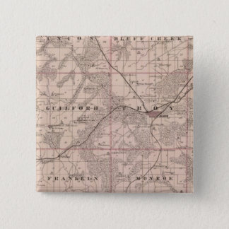Map of Monroe County, State of Iowa 15 Cm Square Badge