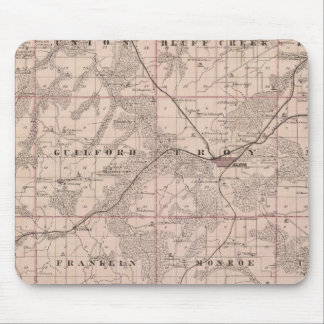 Map of Monroe County, State of Iowa Mouse Mat