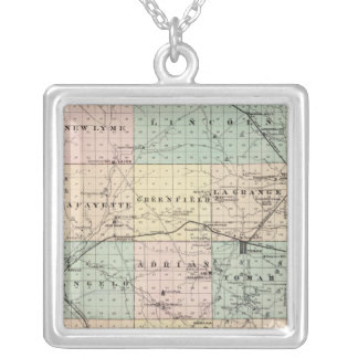 Map of Monroe County, State of Wisconsin Silver Plated Necklace
