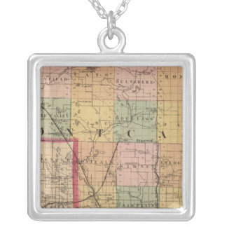 Map of Montcalm County, Michigan Silver Plated Necklace