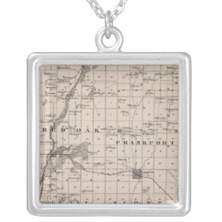 Map of Montgomery County, State of Iowa Silver Plated Necklace