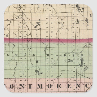 Map of Montmorency County, Michigan Square Sticker