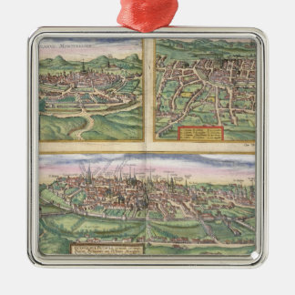 Map of Montpellier, Tours, and Poitiers, from 'Civ Christmas Ornament