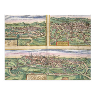 Map of Montpellier, Tours, and Poitiers, from 'Civ Postcard