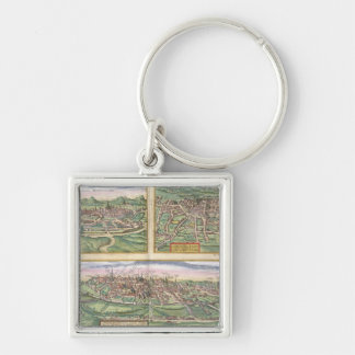 Map of Montpellier, Tours, and Poitiers, from 'Civ Silver-Colored Square Key Ring