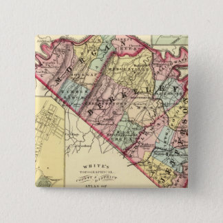 Map of Morgan, Berkeley, and Jefferson counties 15 Cm Square Badge