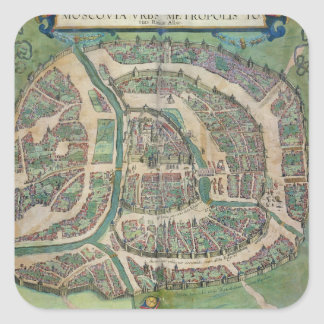 Map of Moscow, from 'Civitates Orbis Terrarum' by Square Sticker