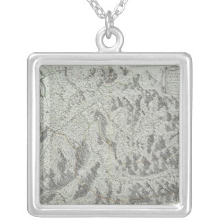 Map of Mountains Silver Plated Necklace