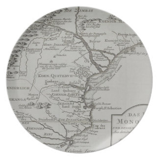 Map of Mozambique, Africa Dinner Plate