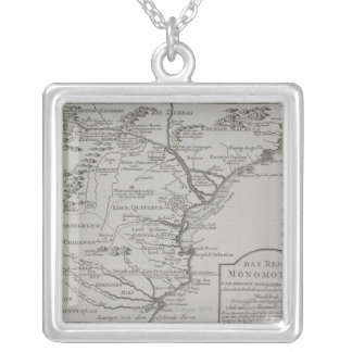 Map of Mozambique, Africa Silver Plated Necklace