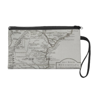 Map of Mozambique, Africa Wristlet Purses