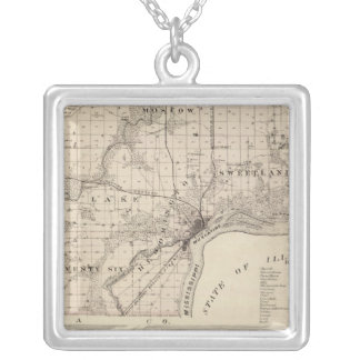 Map of Muscatine County Silver Plated Necklace
