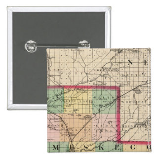 Map of Muskegon County, Michigan 15 Cm Square Badge