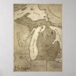 Map of Mythological Land of Michigan Print