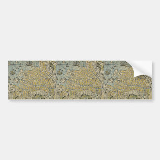Map of Nagasaki by Yamatoya Ukiyoe Bumper Stickers