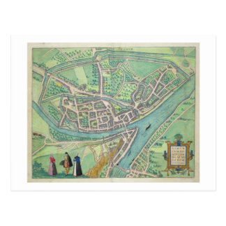 Map of Namur, from 'Civitates Orbis Terrarum' by G Postcard