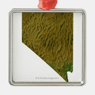 Map of Nevada Silver-Colored Square Decoration