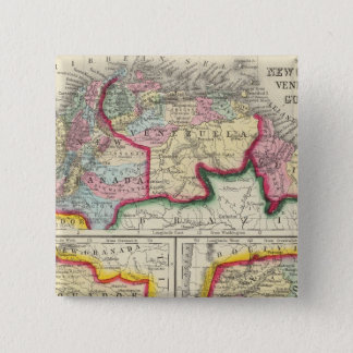 Map Of New Granada, Venezuela, And Guiana 15 Cm Square Badge