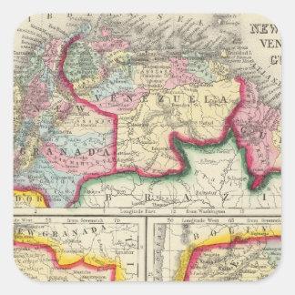 Map Of New Granada, Venezuela, And Guiana Square Sticker