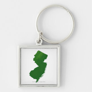 Map of New Jersey 2 Silver-Colored Square Key Ring