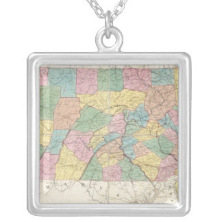 Map of New Jersey And Pennsylvania Silver Plated Necklace