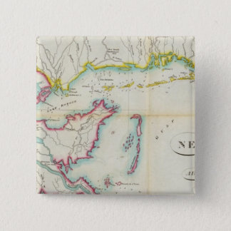 Map of New Orleans and Adjacent Country 15 Cm Square Badge