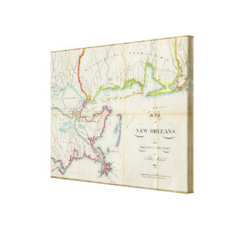 Map of New Orleans and Adjacent Country Canvas Print