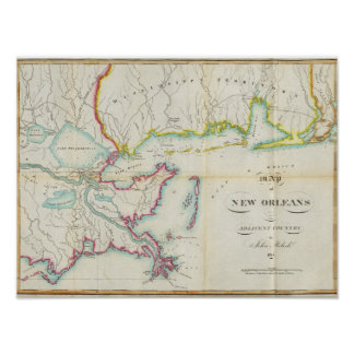 Map of New Orleans and Adjacent Country Poster