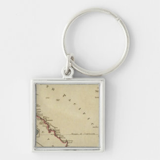 Map of New South Wales Silver-Colored Square Key Ring