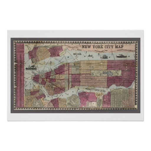 Map of New York City (1857) Posters