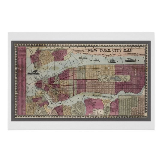 Map of New York City (1857) Poster