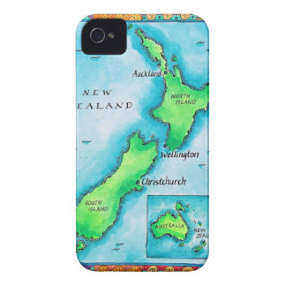 Map of New Zealand 2 iPhone 4 Case-Mate Case