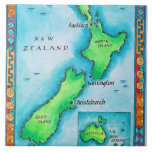 Map of New Zealand 2 Large Square Tile