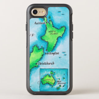 Map of New Zealand 2 OtterBox Symmetry iPhone 7 Case