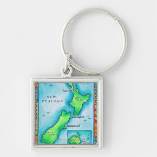 Map of New Zealand 2 Silver-Colored Square Key Ring