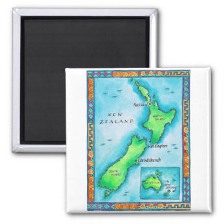 Map of New Zealand 2 Square Magnet