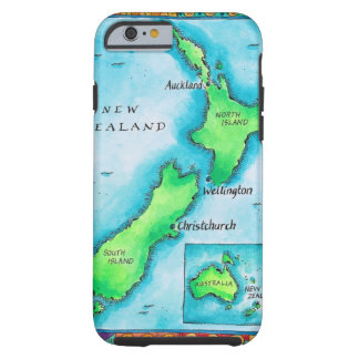 Map of New Zealand 2 Tough iPhone 6 Case