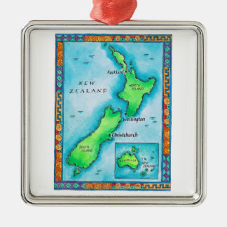 Map of New Zealand Christmas Ornament