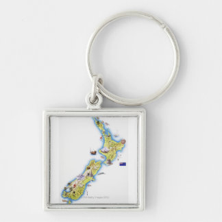 Map of New Zealand Key Ring