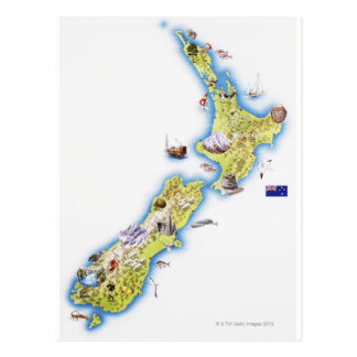 Map of New Zealand Post Card