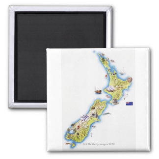 Map of New Zealand Square Magnet